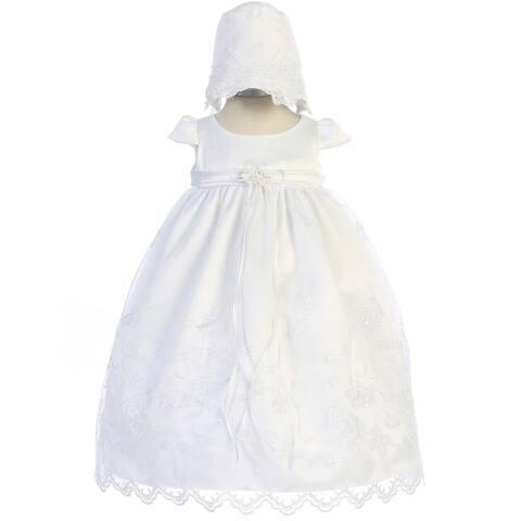Kids Dream Baby Girls White Scalloped Embroidery Bonnet Christening Dress