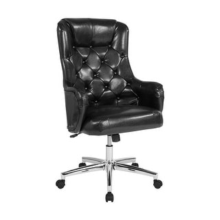 Offex Home and Office High Back Swivel Chair in Black Leather Upholstery
