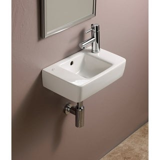 "Bissonnet 272140 Elements Renova 15-3/4"" Wall Mounted Center Drain Bathroom Sink with 1 Hole Drilled and Overflow - White - n/a"
