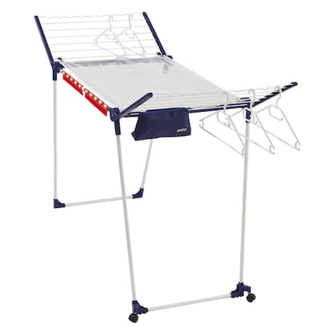 Leifheit Pegasus 200 Gullwing Adjustable Drying Rack, Durable Steel, White and Blue