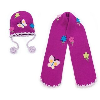 Girls Purple Butterfly Hat Scarf Handmade Lightweight Winter Set