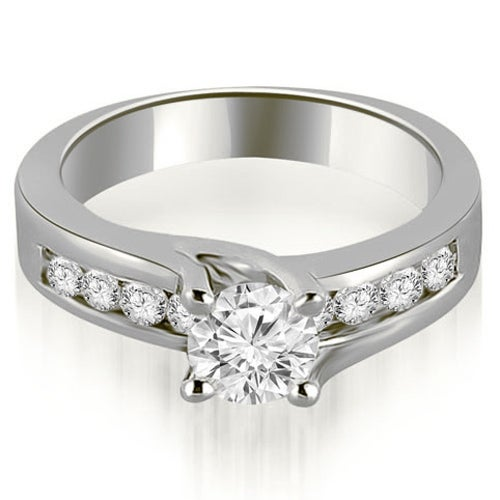 0.80 cttw. 14K White Gold Round Cut Channel Engagement Diamond Ring