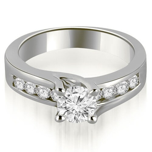 1.05 cttw. 14K White Gold Round Cut Channel Engagement Diamond Ring