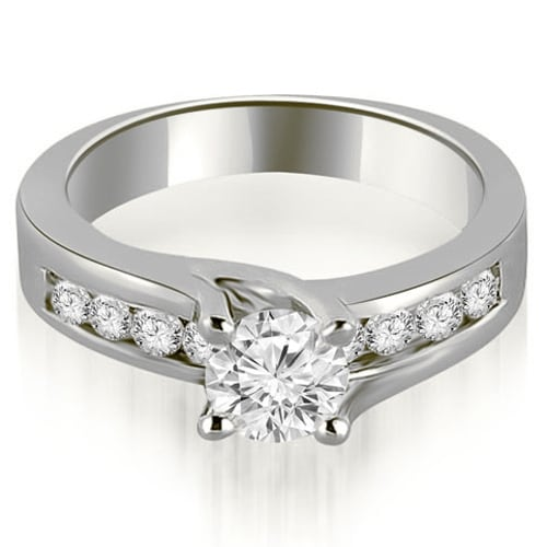 1.30 cttw. 14K White Gold Round Cut Channel Engagement Diamond Ring
