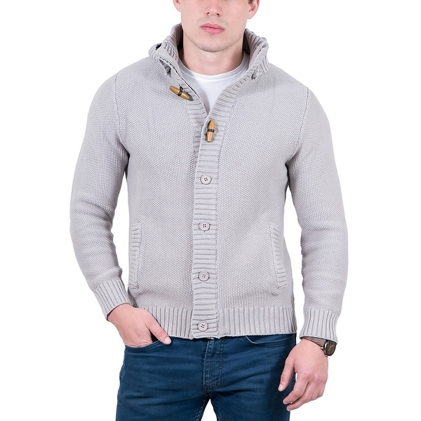 Cashmere Company Light Grey Waffle Knit Hooded Cardigan