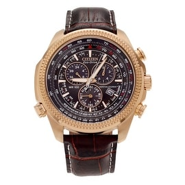 Citizen Men's 'Eco-Drive' BL5403-03X Rose Goldtone Chronograph Leather Strap Watch