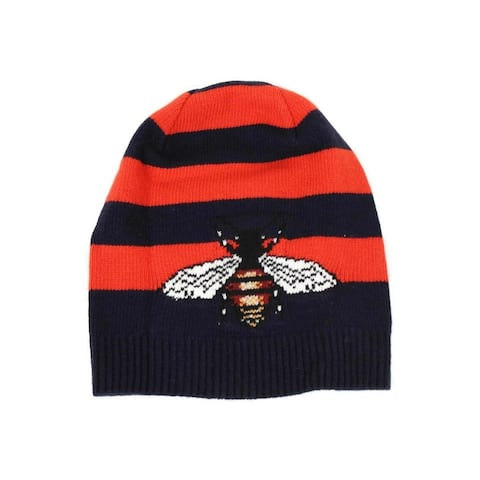 Gucci Men's Blue / Red Striped Wool Knit Beanie Hat With Large Bee M / 58 500930 4274 - M / 58 / 8.66