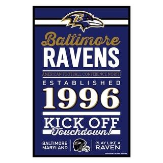 Baltimore Ravens Sign 11x17 Wood Established Design