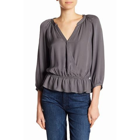 Joie Charcoal Gray Womens Size Large L Surplice Peplum Silk Blouse