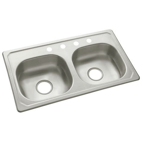 "Sterling 14619-4 33"" Double Basin Drop In Stainless Steel Kitchen Sink with SilentShield - Stainless Steel"