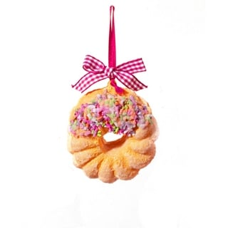 "2.75"" Coffee Break Glazed & Sprinkled Crueller Doughnut Christmas Ornament"