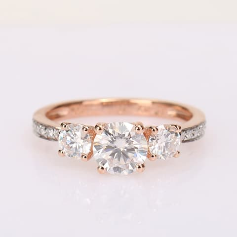 Miadora 1 3/8ct DEW Moissanite 3-Stone Engagement Ring in 10k Rose Gold