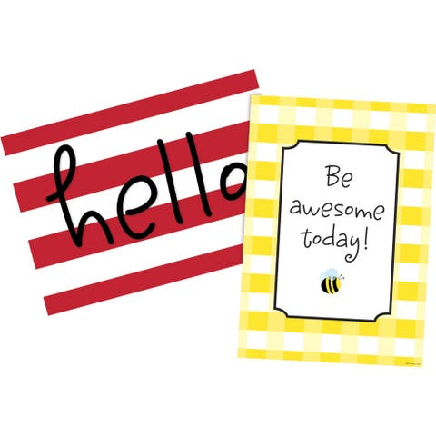 Barker Creek Hello! You're Awesome Posters, 13-3/8 x 19 Inches, Set of 2