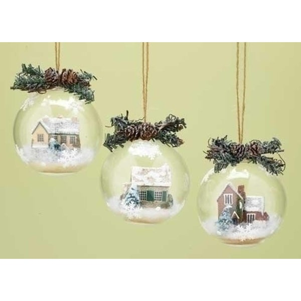 "4.25"" Country Cobblestone Cottage Winter Scene with Twig & Pine Cone Christmas Ball Ornament"