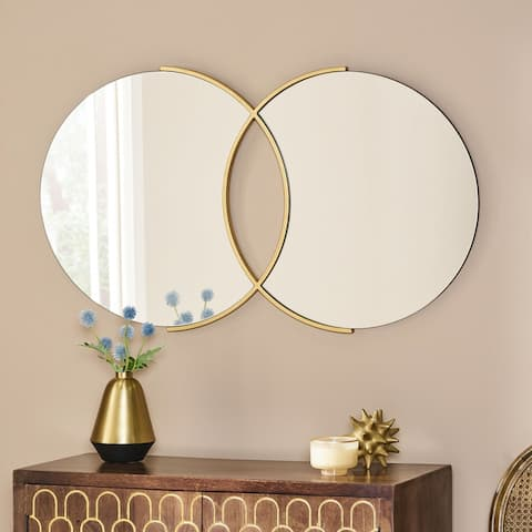 "Hughey Modern Glam Overlapping Round Wall Mirror by Christopher Knight Home - 23.00"" H x 39.50"" W x 0.78"" D"