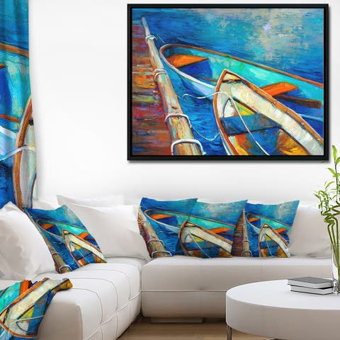 Designart 'Boats and Pier in Blue Shade' Seascape Framed Canvas Art Print