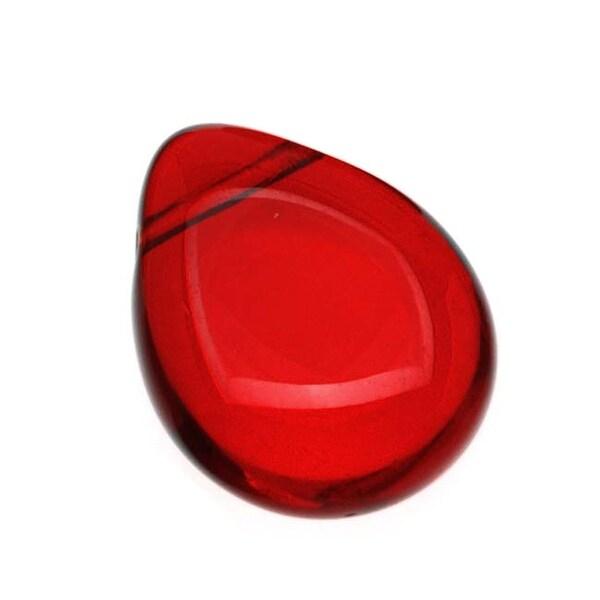 Czech Glass Beads Flat Pear Teardrops - 16x12mm 'Siam Ruby' (12)