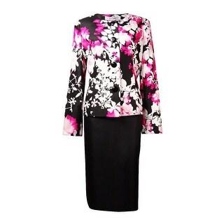 Le Suit Women's English Garden Dupioni Skirt Suit
