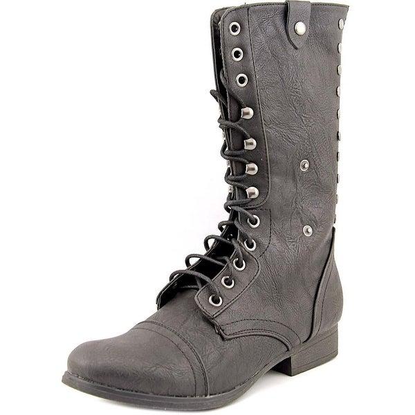 Madden Girl Tiara Women Cap Toe Synthetic Black Mid Calf Boot