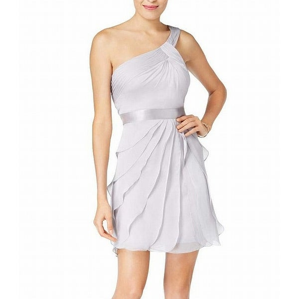 d416057e43a6f Adrianna Papell Gray Women's Size 16 One-Shoulder Tiered Dress