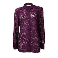 Charter Club Women's Sheer Lace Buttoned Shirt - acai berry combo - 6