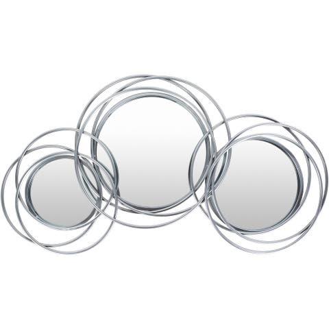 "Pierre Contemporary Silver Triple18x33-inch Round Mirror - 18""H x 33""W"