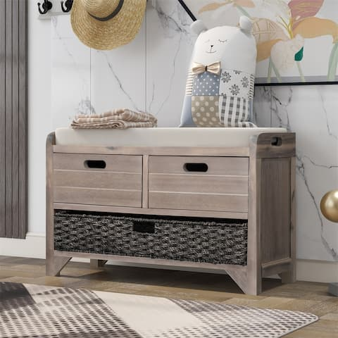 Merax Rustic Storage Bench with Removable Basket and Removable Cushion