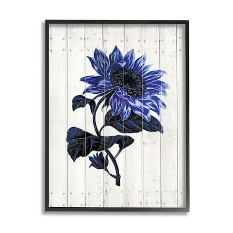 Stupell Industries Blue Sunflower Illustration White Farm Fence Design Framed Wall Art