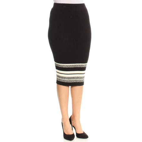 BAR III Womens Black Color Block Knee Length Pencil Skirt Size: S