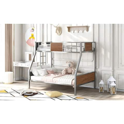 Twin-over-full bunk bed modern style steel frame bunk bed with safety rail