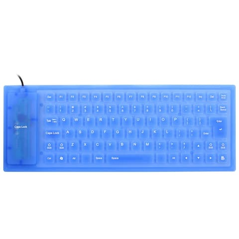 Unique BargainsFoldable Flexible 85 Keys USB Wired Roll up Silicone Keyboard Blue for Laptop PC