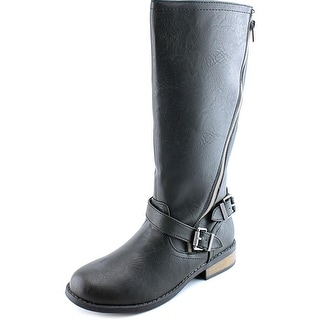 Sarah Jayne Lynxx Youth Round Toe Synthetic Black Knee High Boot