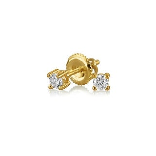 Bling Jewelry Screwback CZ Stud earrings Gold Plated 3mm