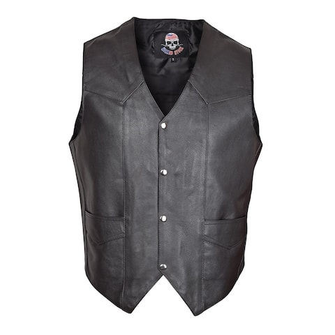 Men Cowhide Leather Motorcycle Biker Classic Western Style Vest Black