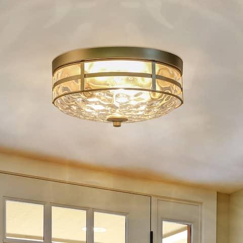 Modern Gold Water Ripple Full Flush Mount Ceiling Lights for Bedroom