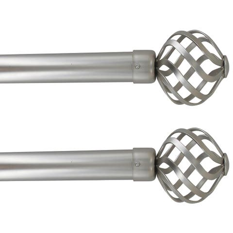 """2 Pack Adjustable 1"""" Single Window Curtain Rod 50"""" to 82"""" - 50"""" to 82"""" L x 1"""" D"""