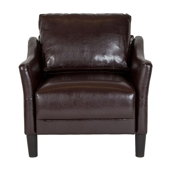Offex Asti Contemporary Upholstered Chair in Brown Leather