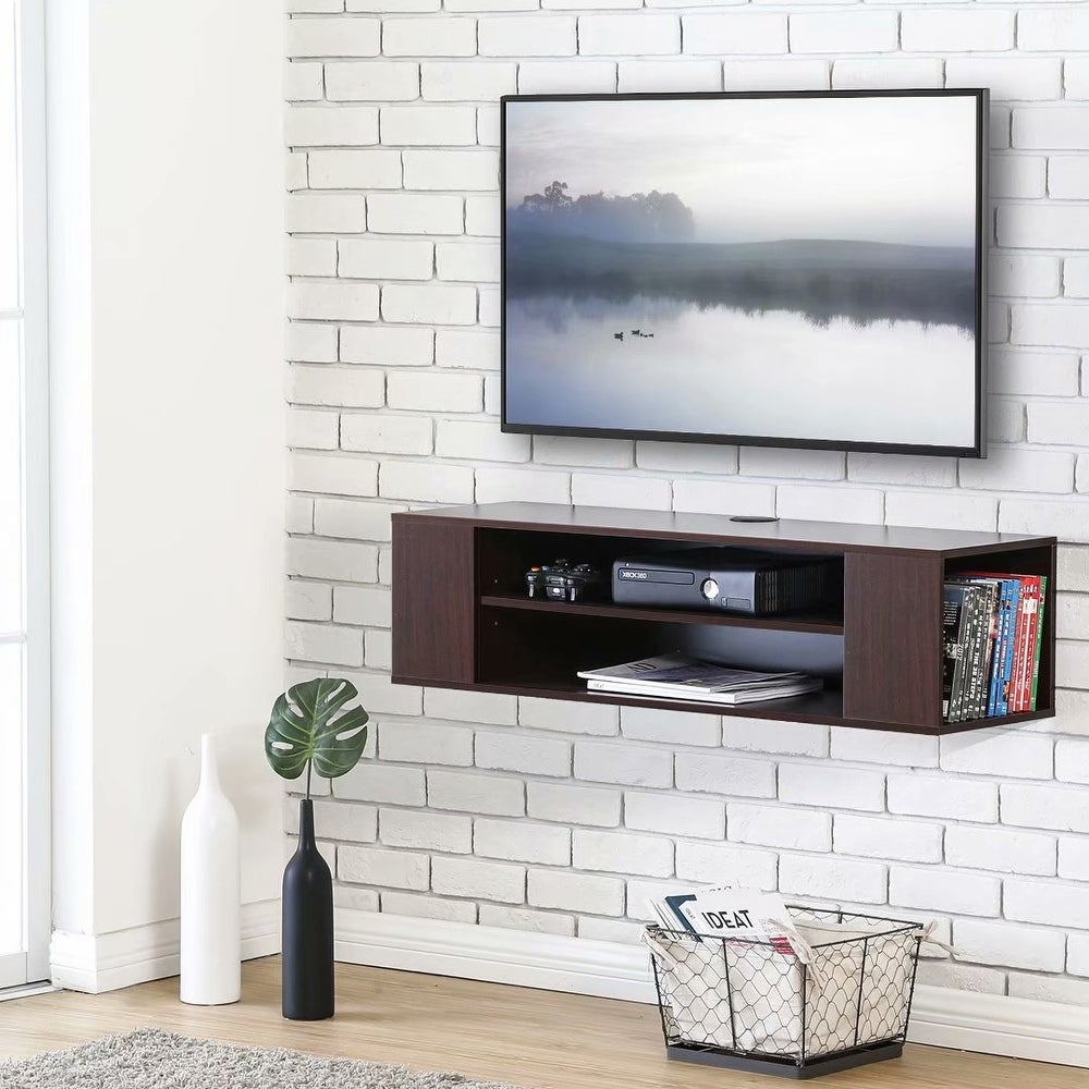 Fitueyesfitueyes Wall Mounted Media Console Modern Floating Tv Stand Shelf Entertainment Center Storage Component Shelves For Tv Brown 55 Inches Walnut Dailymail
