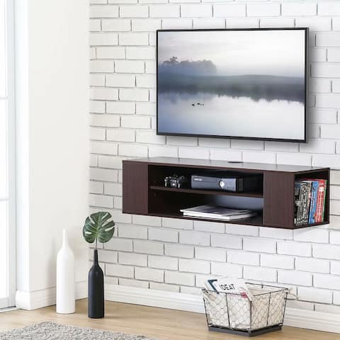 FITUEYES Wall Mounted Media Console Modern Floating TV Stand Shelf Entertainment Center Storage Component Shelves for TV, Brown