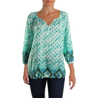 Beach Lunch Lounge Womens Raquel Printed 1/4 Placket Pullover Top