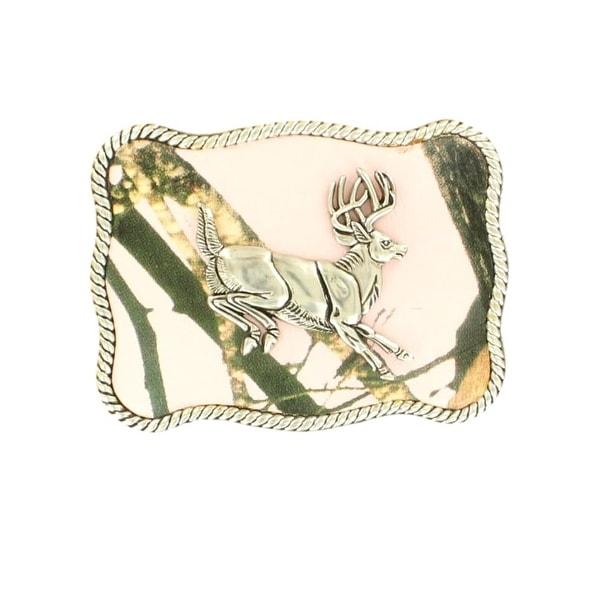Nocona Western Belt Buckle Womens Jumping Buck Silver Pink - 3 3/4 x 2 3/4