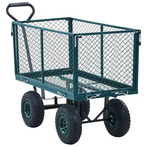 "vidaXL Garden Hand Trolley Green 771.6 lbs - 33.9"" x 18.3"" x 38.2"""