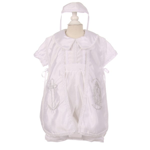 0f29dee76 Baby Boys White Cross Virgin Mary Embroidery Christening Baptism Romper  6-24M