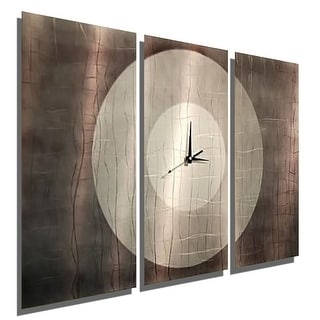 "Statements2000 Large Abstract Metal Wall Clock Art Panels by Jon Allen - Dynamic Onyx - 38"" x 24"""