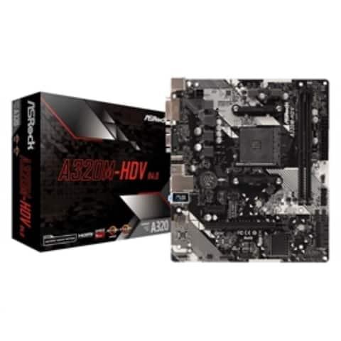 ASRock Motherboard MB-A320M-HDV R4.0 AMD AM4 A320 Maximum 32GB DDR4 PCIE HDMI/DVID/Dsub mATX Retail - Black