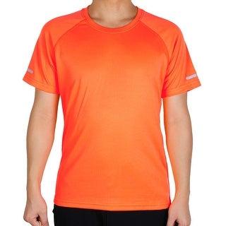 Men Polyester Moisture Wicking Short Sleeve Tee Outdoor Sports T-shirt Orange XL