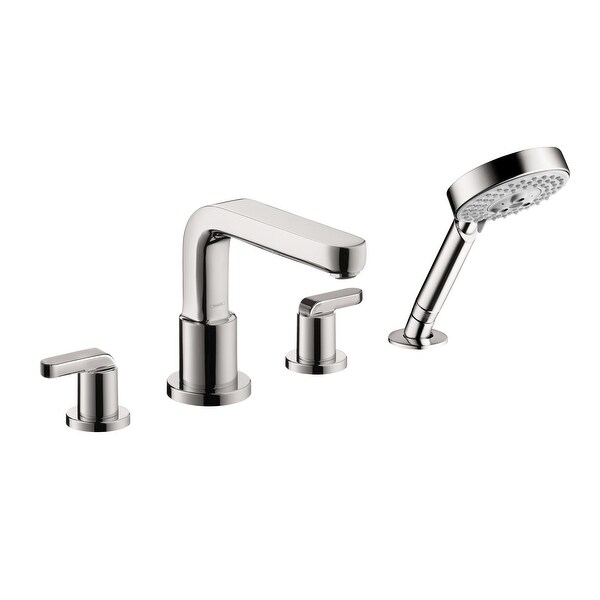 Hansgrohe 31448 Metris S Deck Mounted Roman Tub Filler with Diverter, Metal Lever Handles and 2.0 GPM Multi Function Hand