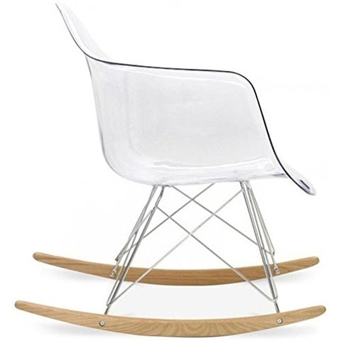 2xhome Clear Plastic Rocker Rocking Molded Shell With Arms Armchair Nursery Lounge Living Room Transparent Crystal