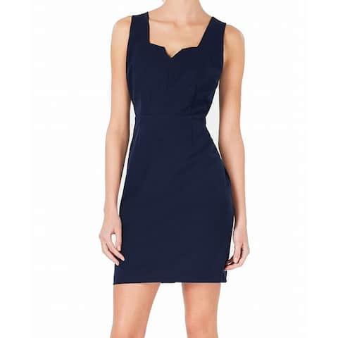 Bar III Women's Sheath Dress Navy Blue Size Small S Notched-Neck