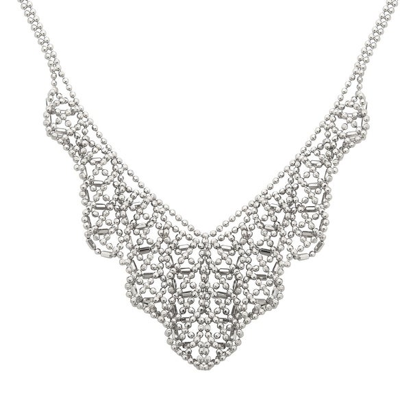 Beaded V-Shape Bib Necklace in Sterling Silver - White